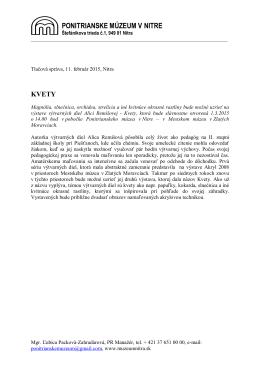 Tlačová správa - Ponitrianske muzeum v Nitre
