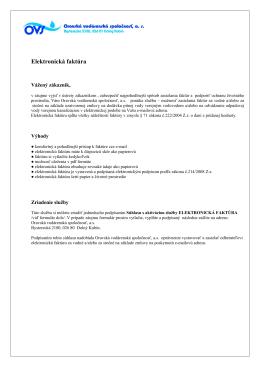 Elektronická faktúra - Oravská vodárenská spoločnosť