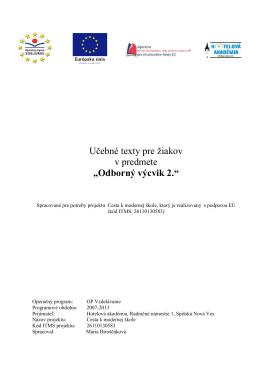 Odborný výcvik 2. - Hotelová akadémia Spišská Nová Ves
