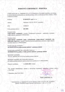 Poistný certifikát - Eurofinn spol. s ro