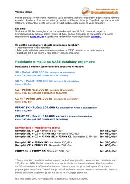 Posielanie e-mailu na NAŠE databázy príjemcov