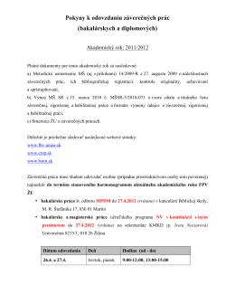 Pokyny k odovzdaniu BP 2012