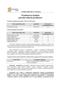Predmetová komisia prírodovedných predmetov