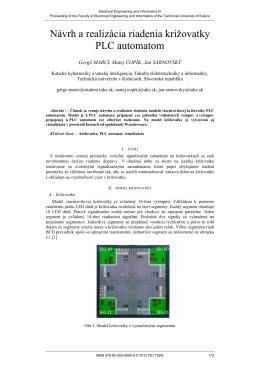 Návrh a realizácia riadenia križovatky PLC automatom