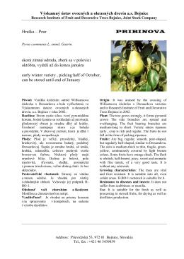 pribinova - Výskumný ústav ovocných a okrasných drevín as Bojnice