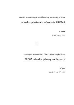 Interdisciplinárna konferencia PRIZMA PRISM Interdisciplinary
