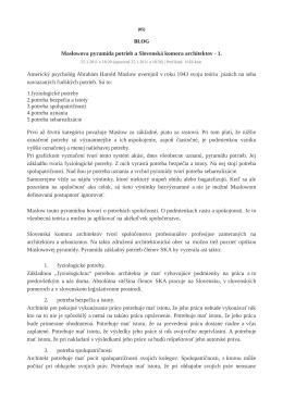 Maslowova pyramída potrieb a Slovenská komora architektov