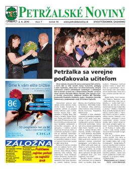 Inzerujte v PN - Petržalské Noviny