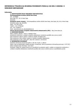 informácia týkajúca sa splnenia povinnosti podľa § 136
