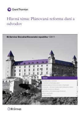 Hlavná téma: Plánovaná reforma daní a odvodov