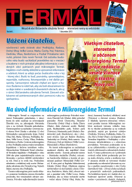 Na úvod informácie o Mikroregióne Termál Vážení čitatelia