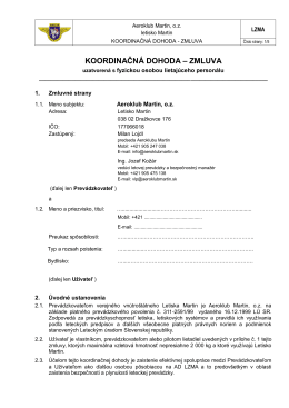 Koordinačná Dohoda prevadzkovatel-fyzická
