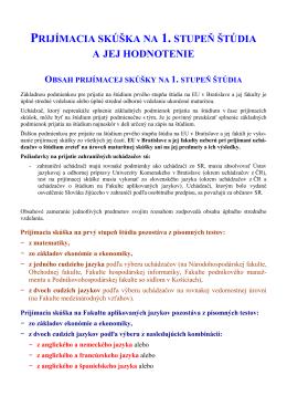 2013 - 1 - 06 Prijímacia skúška - 1. stupeň štúdia