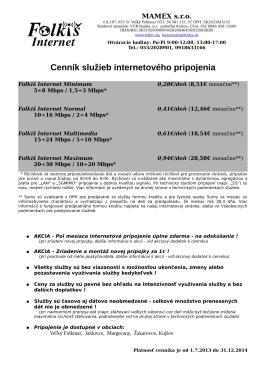Cenník internetových služieb platný do 31.12.2014 na