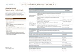 SADZOBNíK POPlATKOV J&T BANKY, AS