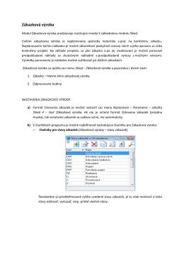 Evidencia zákazkovej výroby - MK-soft