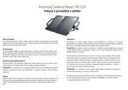 Prenosný Solárny Panel 7W 12V