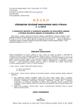 Návrh všeobecne záväzného nariadenia