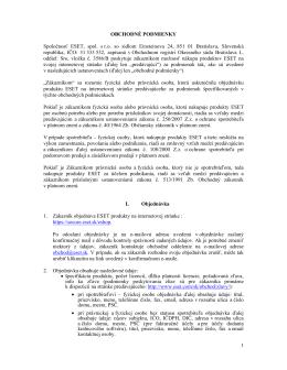 1 OBCHODNÉ PODMIENKY Spoločnosť ESET, spol. s r.o. so sídlom