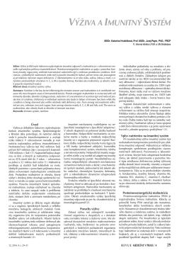 Výživa a imunitný systém (Revue medicíny v praxi 12, 2014, 4. s. 29