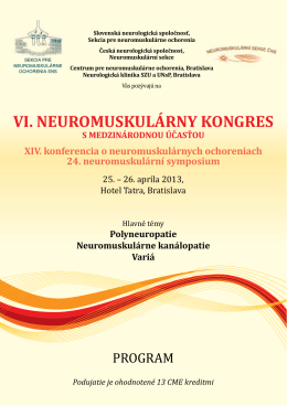 Program kongresu - Sekce neuromuskulárních chorob České