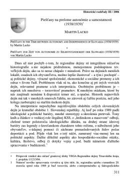 311 Piešťany na prelome autonómie a samostatnosti