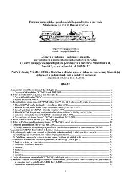 Správa o činnosti CPPPaP Banská Bystrica za školský rok 2012-2013