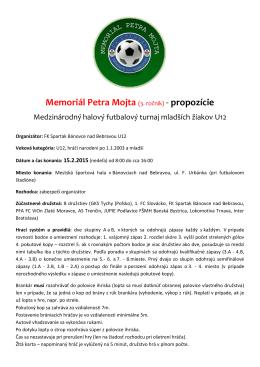 Memoriál Petra Mojta (3. ročník) - propozície