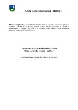 VZN č.3-2013 o odpadových vodách