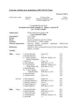 Atletika SŠ - vyhodnotenie - Centrum voľného času Čadca