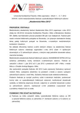"""""""Akademická Nitra 2012"""" - Univerzita Konštantína Filozofa v Nitre"""