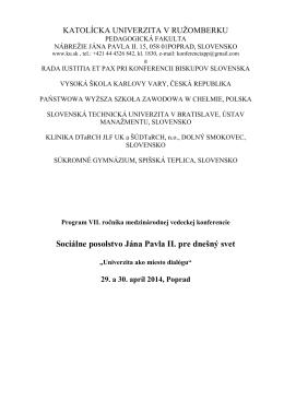 Program JP II. 2014 - Konferencie - Katolícka univerzita v Ružomberku