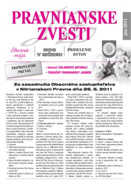 PRAVNIANSKE ZVESTI - číslo 03/2011 - JÚN