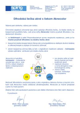 Dlhodobá liečba akné s liekom Aknecolor