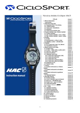 Návod na obsluhu CicloSport HAC5