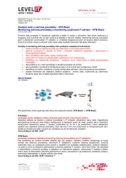 Analýza siete a sieťovej prevádzky - NTA Basic Monitoring