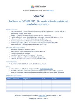 Seminár Revízia ISO 9001:2015