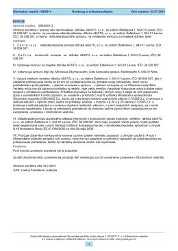 Deň vydania: 23.07.2014 Konkurzy a reštrukturalizácie Obchodný