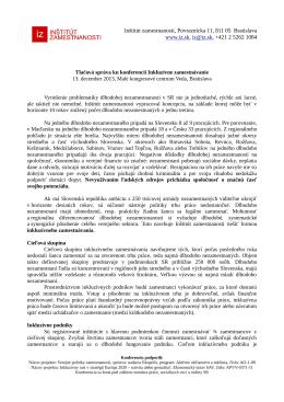 Tlačová správa - Inštitút zamestnanosti