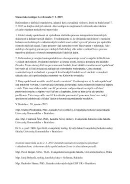 Stanovisko teológov k referendu 7. 2. 2015 Referendum o