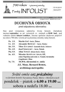 Infolist č. 8 - Rímskokatolícka farnosť Narodenia Panny Márie