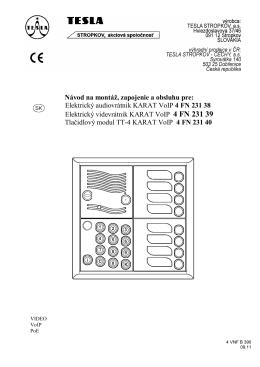 Elektrický audiovrátnik KARAT VoIP 4 FN 231 38 Elektrický