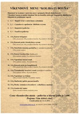 """VÍKENDOVÉ MENU """"KOLIBA ĽUBOVŇA"""" - Koliba"""