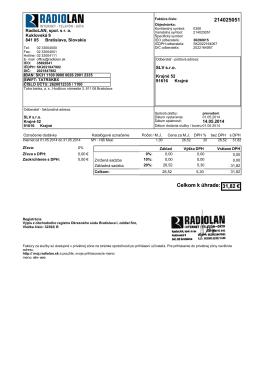 214025051 Celkom k úhrade: 31,82 € Celkom k úhrade: 31,82 €