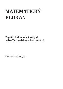 Pravidlá súťaže Matematický klokan v školskom roku 2013/14
