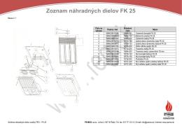 Zoznam náhradných dielov FK 25 - PS