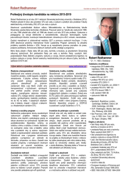 REDHAMMER Zivotopis k Volebnemu programu rektora 2015 2019