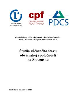 Štúdia súčasného stavu občianskej spoločnosti na Slovensku