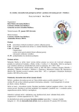 22.ročník Šaliansky Maťko 2015