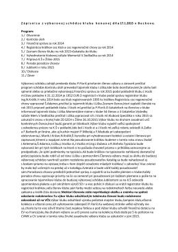 Zápisnica z výborovej schôdze konanej 17. 1. 2015 v